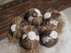 Rustic Easter eggs - set of 5.