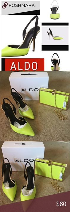 💕 Super Hot ALDO Neon green heels 💕 💕 Super Hot ALDO Adelania Neon green heels in size 8 super sexy brand new with box. Needs a new home. Matching clutch in separate listing! 💕 Aldo Shoes