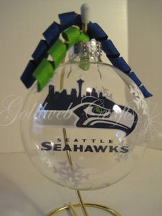 Seattle Seahawks Floating Glass Ball Christmas by GoldWebCrafts