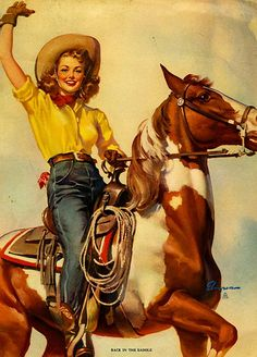 """""""Back in the Saddle"""" ~ Gil Elvgren cowgirl pin-up, Pin Ups Vintage, Images Vintage, Vintage Art, Vintage Stuff, Gil Elvgren, Pinup Art, Cowgirl Vintage, Arte Equina, Art Occidental"""
