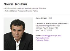 @Nouriel - Professor at Stern School, NYU with a Ph.D. in Economics from Harvard University - 55000 Kred Influence Points - Education Community