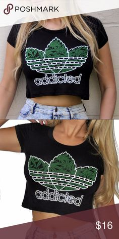 Rave Addicted weed rap tee this tee is soft and stretchy  fabric is rayon/spandex Tops Crop Tops