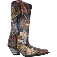 Crush by Durango Womens Black Metallic Leather Floral Sparkle Cowboy Boots