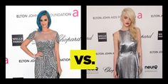 Who Wore It Better? Silver Foxes: Katy Perry Vs. Sky Ferreira. See full gowns here: http://buzznet.com/~6505a55