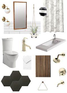minimalist black and white bathroom decor