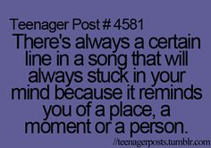 This happens to me every day. I hear a song and think of an event that occurred in my sixth grade love life.
