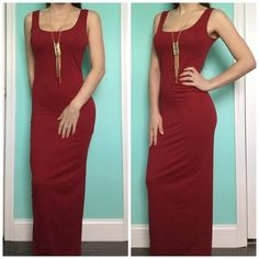 Dark Red Form Fitting Maxi Brand new and never worn, just modeled. Super cute. Form fitting. Nice deep red shade. Has a good amount of stretch. No slits. Size medium but can fit a small/medium. I am 5'4 and 120lbs modeling the item. My measurements are about 34C/26/37. I do not trade. I accept reasonable offers. Dresses Maxi