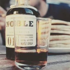 """""""Saturday mornings were made for pancakes made exceptional by Noble Handcrafted Maple Syrups #saturday #pancakes #weekend #breakfast #bourbon #barrelaged…"""""""