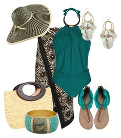 A fashion look from January 2016 featuring green swimsuit, beach cover ups and flat shoes. Browse and shop related looks. Cancun Outfits, Beach Vacation Outfits, Summer Outfits, Classy Outfits, Chic Outfits, Fashion Outfits, Capsule Wardrobe Women, Plus Size Beach Outfits, Beachwear Fashion