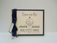 ivory VW Campervan Wedding Guest book in navy and ivory