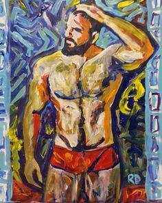 Red Trunks by RD Riccoboni #rdriccoboni #art #artiststudio #beardedartist #beard #beardedman #beards #beardporn #lumbersexual #gaybeard #gaybear #gayscruff #gayart #impressionism #contemporarypainting #bearstagram #ipaintyourbear #ipaintguys...