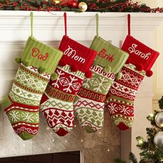 A Personal Creations Exclusive! Santa will think you spent months hand-knitting our old-fashioned sweater-look stockings. Each roomy stocking is accented with cute snowball fringe on the cuff.