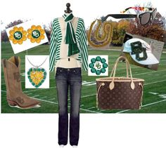 """Baylor Bears Flirties Earrings, Necklace, Rings Game Day Ready"" by flirties on Polyvore"