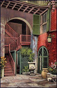 Postcard: New Orleans, Louisiana. Brulatour Courtyard, 1943 by fantomaster, via… New Orleans History, New Orleans Art, New Orleans Homes, New Orleans Louisiana, New Orleans Architecture, Architecture Details, New Orleans French Quarter, Crescent City, Stairways