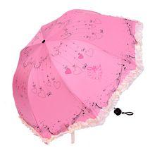Nova Linda Princesa Rendas Guarda-chuva Manual de Três Guarda-chuva Dobrável das Mulheres Menina Anti-Sai da Gaiola das Chuvas Parasol Paraguas para Venda(China (Mainland))