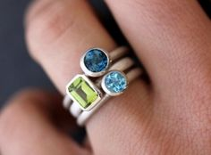 Gemstone Stacking RIngs in Emerald Cut Peridot, Lonson Blue Topaz and Swiss Blue Topaz and Sterling Silver ~ from etsy