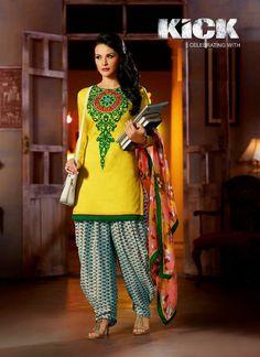 Yellow Jacqueline Fernandez Kick Salwar Kameez
