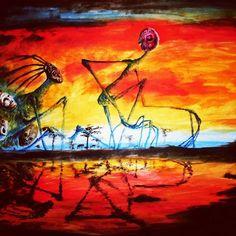 #painting #watercolor #surrealism #mask #spiritual #sunset #african #art