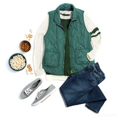For your next fall sporting event, layer up with a quilted vest and varsity stripes - in team colors, of course!