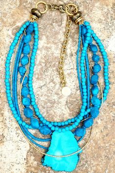 Turquoise Slab and Gold Boho Chic Everyday Pendant Statement Necklace Dainty Diamond Necklace, Leaf Necklace, Gold Pendant Necklace, Beaded Necklace, Pearl Pendant, Diamond Rings, Collier Turquoise, Turquoise Jewelry, Gold Jewelry