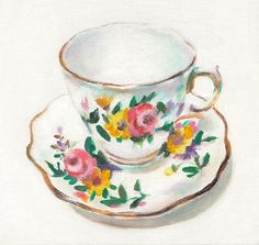 Vintage tea cup Vintage Art Still Life Painting by tushtush, $100.00