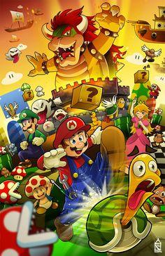 Un simpático fanart de Super Mario