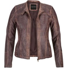 maurices Plus Size - Distressed Moto Jacket With Ribbed Knit Sides ($52) ❤ liked on Polyvore featuring outerwear, jackets, jackets/sweaters, leather jackets, plus size, brown, womens plus size jackets, plus size moto jacket, collar jacket and biker jacket