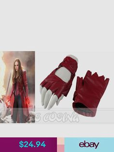 Female Marvel Cosplay, Scarlet Witch Costume, Captain America Civil War, Wanda And Vision, Halloween Costumes, Gloves, Ebay Clothing, Handmade, Accessories