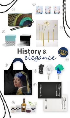 History & Elegance @abodeebenelux -  1 #Dynomighty - Mighty Wristlet Peacock. 2 #Cedon - Paper Lantern Magnolia. 3 #Remember - Jewel Cube. 4 #Peleg - Magnetic Vases Gold. 5 #Loqi - Museum Collection tote, Vermeer Girl with a Pearl Earring. 6 Cedon - Pocket mirror Duck. 7 #Qualy - Peacock Key. 8 #Trendform - Paper Placemats Sur la Table. 9 #Monkey Business - La Bella Bands, elastic bands.