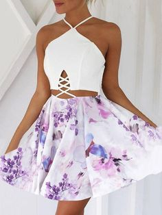 Stylish Floral Halter Lace-up Pleated Mini Dress