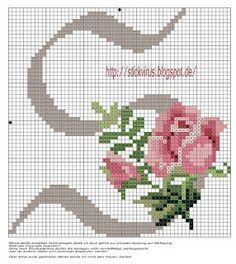 alphabet - s - rose - point de croix - cross stitch - Blog : http://broderiemimie44.canalblog.com/