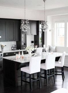 Small Black and White Apartment Kitchen and Dining Area – Home Inspiring