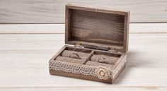 Portador del anillo de boda marfil caja de por InesesWeddingGallery