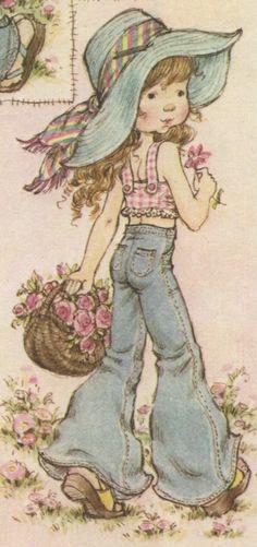 Sara Kay, Holly Hobbie, Country Girls, Vintage Art, Little Girls, Applique, Aurora Sleeping Beauty, Illustration Art, Disney Characters