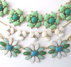 Spring necklaces in shades of green, mint and white. Available at zoeemilie.com #zoeemilie #neckcandy #statementnecklace #floralnecklace #trendy #fashionjewelry #mint #gold