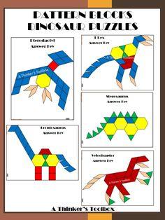 Dinosaur Pattern Block Puzzles