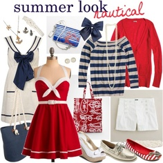A whole collection of nautical clothes and accessories. I especially love the red and white dress.