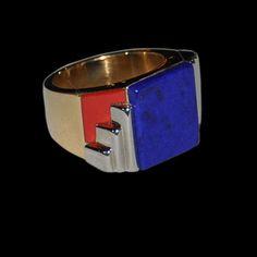 Georges FOUQUET Art Deco c1928.Lapis lazuli, ox blood red enamel  18ct & platinum ring.