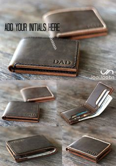 The best gift for Dad! ...Or Mom, or your Best Man, Dave, or Bill... Personalize a handmade leather wallet for the perfect gift. Real full grain leather looks even better as it ages and means every wallet is completely unique. Created with love by master leathersmith Pi Noi and the Joojoobs family.