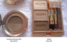 Anastasia Brow Duo vs Milani Brow Kit http://preciousfacesartistry.blogspot.com/2013/07/makeup-dupes.html