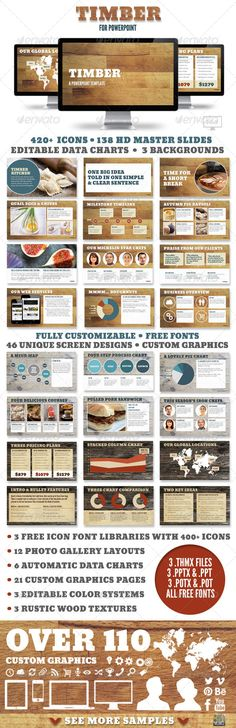 Awesome for restaurants, chefs and lovers of all things rustic - Timber Powerpoint Presentation Template