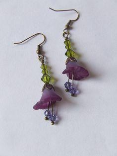 Flowering Violet Earrings by lesly on Etsy, $15.00