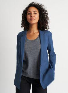 Ride Blazer | Navigator Collection, Dark Denim | Kit and Ace Like A Boss, Dark Denim, Perfect Fit, Jackets For Women, Blazer, Dry Cleaning, Zero, Pockets, Kit