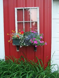 barn window-window boxes on this year's wish list- including the barn.