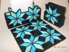 Quilted Star Kitchen set in Plastic canvas 3 piece by SpyderCrafts, $15.00