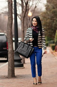 cute & little blog | striped blazer, banana republic cobalt ankle pants, navy leaves scarf | br sloan pants review outfit