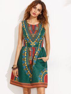 Vestido estampado sin mangas con bolsillo - multicolor-Spanish SheIn(Sheinside)
