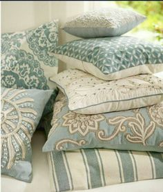 pottery barn coastal style pillows and linens