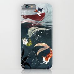 """Buy """"Catfish"""" - cute fantasy cat mermaids illustration by Vivien Wu as a high quality iPhone & iPod Case. Worldwide shipping available at Society6.com. Just one of millions of products available."""