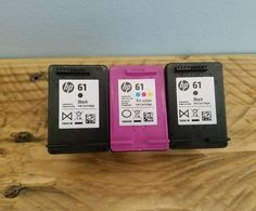 HP 61 lot of 3 empty ink cartridges black & tri-colored USED #HP